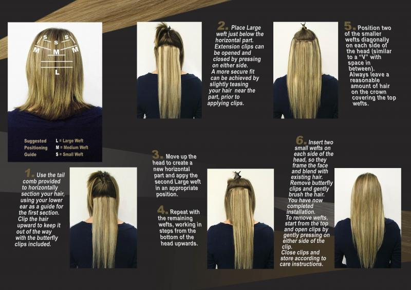 Hair extensions clip in step by step